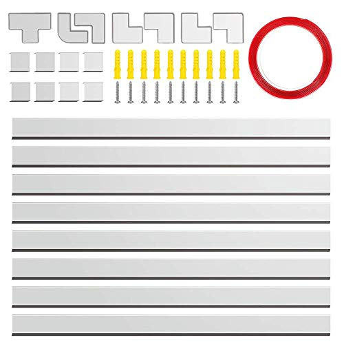 "Canal de cables, 126"" cubiertas de PVC para cables eléctricos, kit de montaje en pared con diferentes canales para todo tipo de cables domésticos,blanco (8 piezas x L15.7 * L0.98 * A0.59"")"