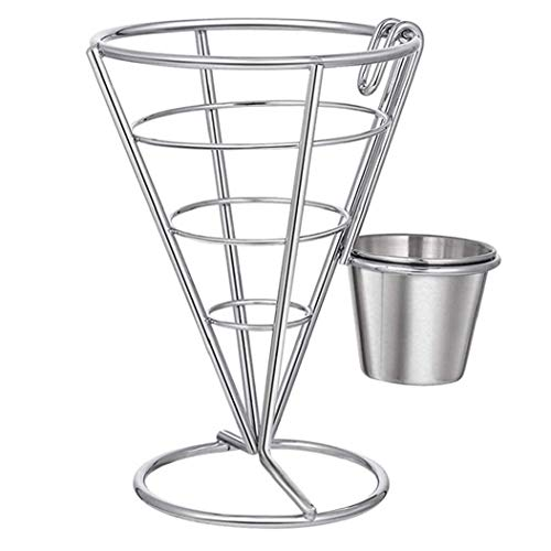 Sanfiyya French Fries Stand Stainless Steel Cone Basket Fry Holder with Sauce Cup for Kitchen Restaurant Party Supplies