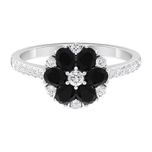Anillo de diamante racimo, anillo de compromiso de flor, anillo de piedra lateral oro blanco
