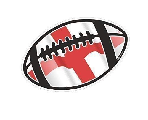 Rugby Ball Motiv mit England englisch Flagge für Rugby Squad Team Supporter Tournament Auto-Aufkleber Vinyl 130x 80mm