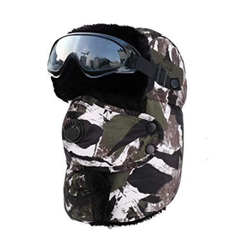 Russen Mütze Herren Tarnhut Männer Radfahren Bomberhut Mit Brille Winddichte Maske Skimütze Snowboard Reiten Motorrad-A