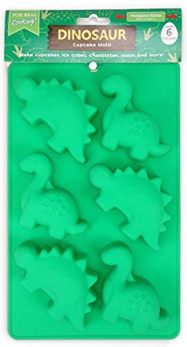 Handstand Kitchen Dinosaur Buddies T-Rex and Stegasaurus Shaped Silicone Cupcake Mold