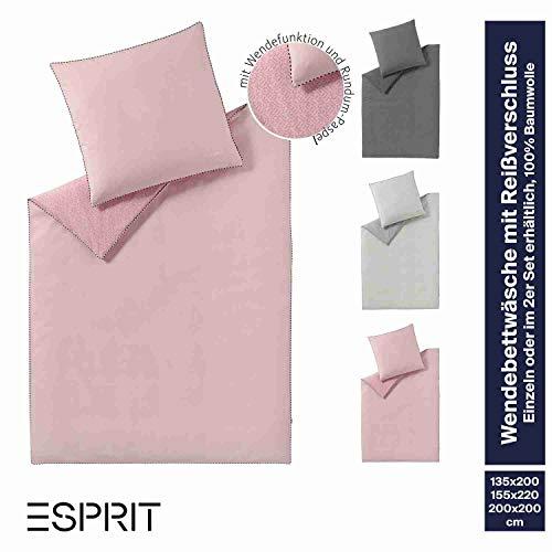 ESPRIT Bettwäsche 135x200 Rosa • 2teiliger Bettbezug Scatter mit Kissenbezug 80x80 cm • 100% Baumwolle