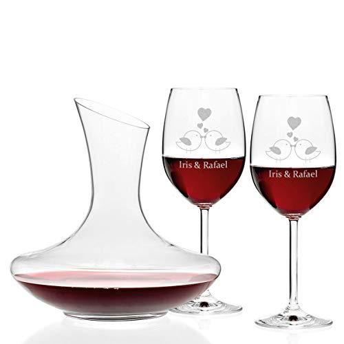polar-effekt 3er Set Leonardo Weingläser und Weindekanter mit Gravur - Glasdekanter Rotwein-Glas 460ml Hochzeits Geschenkidee für Paare zur Hochzeit - Motiv Vogelpärchen