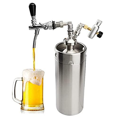 KELUNIS Acero Inoxidable Mini Barril Barril De Cerveza 10L / 317OZ Sistema De Grifo Growler Presurizado con Inyector De CO2 para Mantener La Frescura Y La Carbonatación