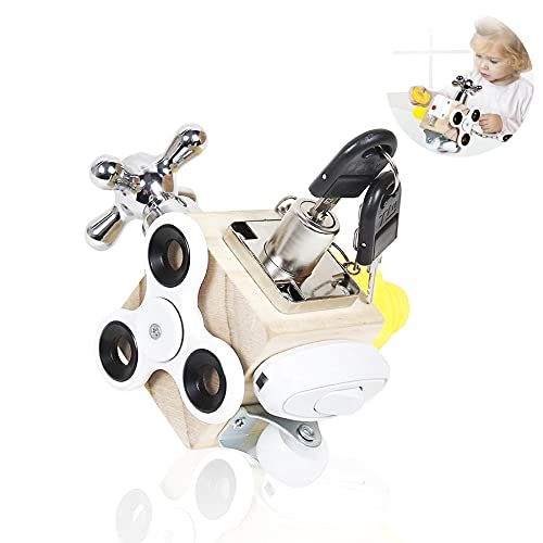 Shengruili Busy Board Baby,Busy Activity Cube,Stress würfel Kinder ,Tragbares Anti Stress Spielzeug,Motorikwürfel Holzspielzeug,Montessori Lernspielzeug Für Kleinkinder 3+, Lernspielzeug Für Kinder