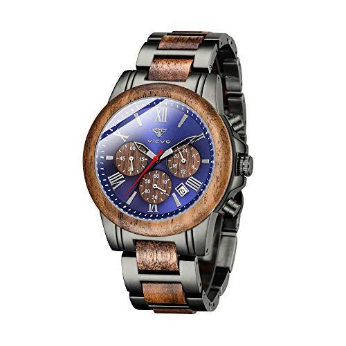 VICVS Reloj de Madera y Acero Inoxidable para Hombre cronógrafo 3 diales cronógrafo Cuarzo Ocio Negocios multifunción Reloj de Madera para Hombre Hecho a Mano. (Walnut)