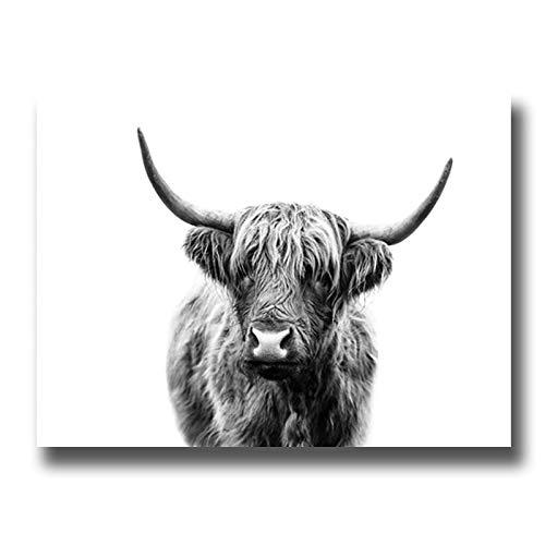Blanco y Negro Ya Ganado Ganado de Las Tierras Altas Animal Salvaje Pintura al óleo Lienzo póster impresión Arte Imagen decoración Sala de Estar