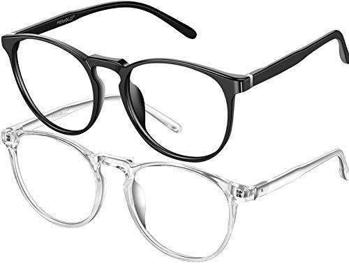 FEIYOLD Blue Light Blocking Glasses Women/Men,Retro Round Anti Eyestrain Computer Gaming Glasses(2Pack)