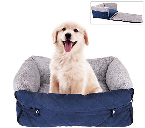laamei Hundebett, Haustierbett für Katzen und Hunde Pecute Hundebett Erweiterbar, Rechteck Ultra Weicher Plüsch luxuriöse Haustier- Maschine Waschbar 56/70 cm (Blau/ 56cm)