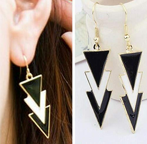 TANAMI Store Vintage Charm Supplies for Triangle Earrings Black White Enamel Dangle Drop Women Gold Gift 80s 90s Stud UK DIY Charm Jewelry Gift for Women Girls.