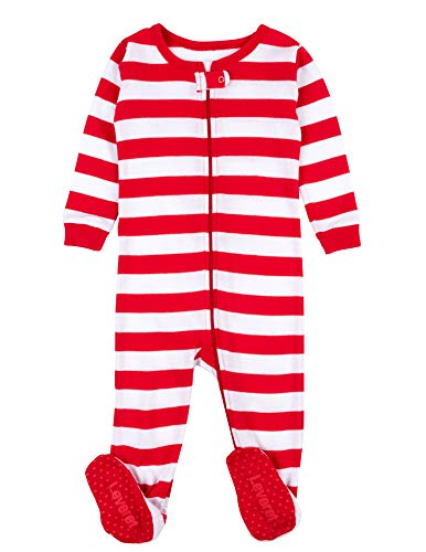 Leveret Kids Red & White Baby Boys Girls Footed Pajamas Sleeper Christmas Pjs 100% Cotton (12-18 Months)