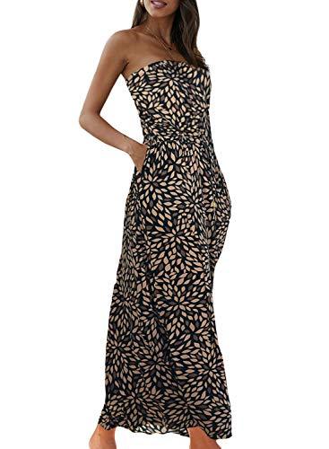 Minetom Damen Sommerkleider Trägerlos Boho Maxi Lang Kleid Ärmelloses CocktailKleid Strandkleid Lang mit Tasche Braun 38