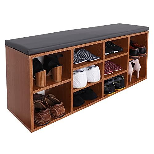 RICOO WM033-ER-A Banco Zapatero 104x49x30cm Armario Interior con Asiento Organizador Zapatos Mueble recibidor Perchero Madera Roble rústico