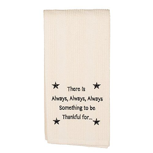 The Country House Collection Always Something to be Thankful 19 x 28 All Cotton Embroidered Waffle Kitchen Towel