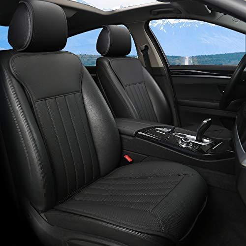 BLACK PANTHER Sitzauflage Auto, Autositzbezüge Vordersitze Vier Jahreszeit Universal Anti-Rutsch Sitzauflagen Auto Fahrersitz mit Rückenlehne(2PCS,Schwarz)