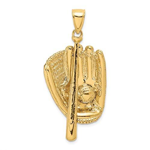 JewelryWeb - Guante de béisbol y abalorio de Bola (14 Quilates)