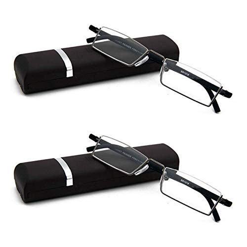 2 Pack Half Frame Reading Glasses for Men and Women Lightweight Computer Readers with Portable Case 1.50