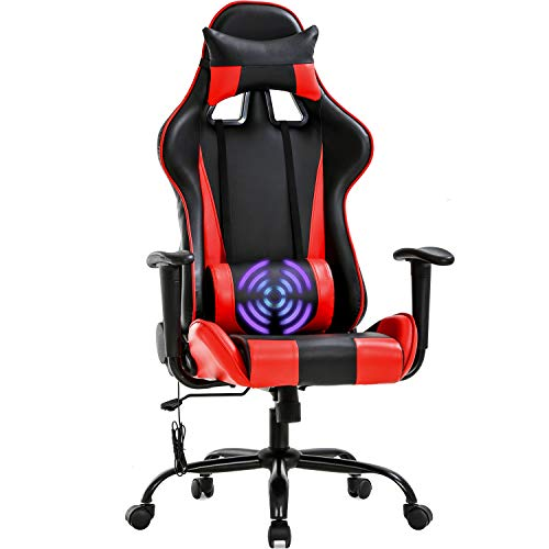 Gaming Chair Racing Office Chair Massage Swivel Chair High Back PU Leather Executive Rolling Task Adjustable Computer Chair with Lumbar Support Headrest Armrest Desk Chair for Adults Women, Red chair gaming