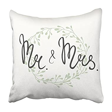 Emvency Throw Pillow Cover 18 X18  Decorative Polyester Floral For Wedding With 'Mr And Mrs' Lettering And Delicate Wreath With Branches Pillowcase Print Two Sides Deco Home