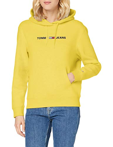 Tommy Jeans Damen Tjw Linear Logo Hoodie Pullover, Star Fruit Yellow, XS