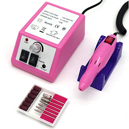FATUXZ Electric Nail Drill,Professional Nail File Kit for Acrylic Nails, Poly Gel Nail File for Home Salon Use (Pink)