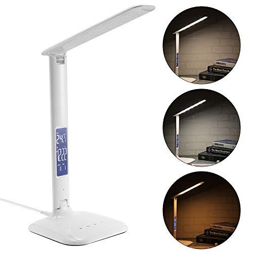 LED bureaulamp met LCD-display, FORNORM dimbaar touch control tafellamp met wekker leeslamp 180° opvouwbaar, temperatuur/tijd/beeldschermkalender, 3 lichtkleuren oogbescherming voor studie