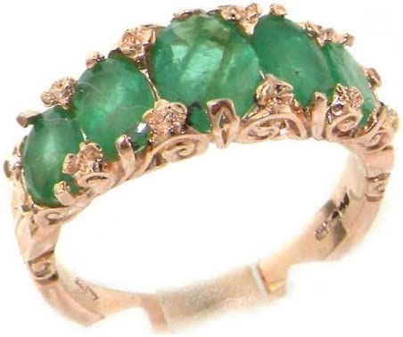 LetsBuyGold 14k Rose Gold Real Genuine Emerald Womens Band Ring