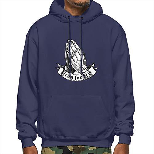 Praying Hands Rosary Hoodie Men's Hoodie Sweatshirt Jacket Navy
