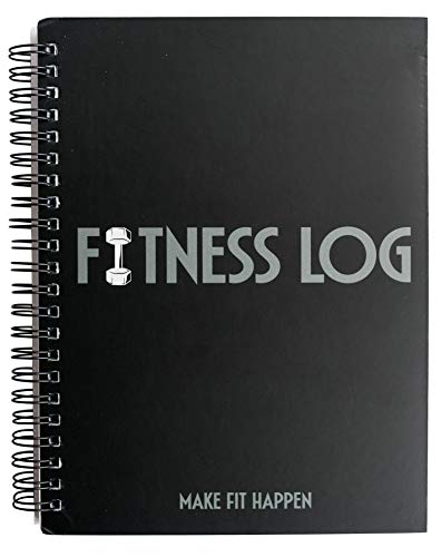 """Black Fitness Journal Workout Book - Daily Log Planner - Tracker for Exercise, Weight Loss, Lifting, WOD for Men & Women - Track Goals, Muscle Gain, Body Building Progress - 6""""x 8""""-Workout Accessories"""