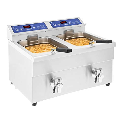 Royal Catering Freidora De Inducción para Gastronomía RCIF-10DB (Volumen: 2 x 10 L, Potencia: 2 x 3.500 W, Temperatura de 60 a 190 °C)