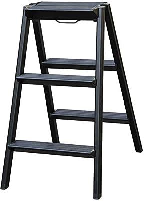 HOMRanger Taburete de 2 peldaños Escalera de peldaño Plegable Taburete Escalera portátil multifunción, aleación de Aluminio (Color: Negro): Amazon.es: Hogar