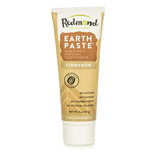 Redmond Earthpaste - Natural Non-Flouride Toothpaste, Cinnamon, 4 Ounce Tube (2 Pack)