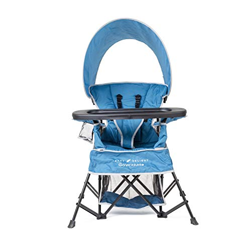 Baby Delight Go with Me Chair Indoor/Outdoor Chair with Sun Canopy Portable Chair Converts to 3 Child Growth Stages: Sitting, Standing & Big Kid 3 Months to 75 Pound Weather Resistant, Deep Water Blue