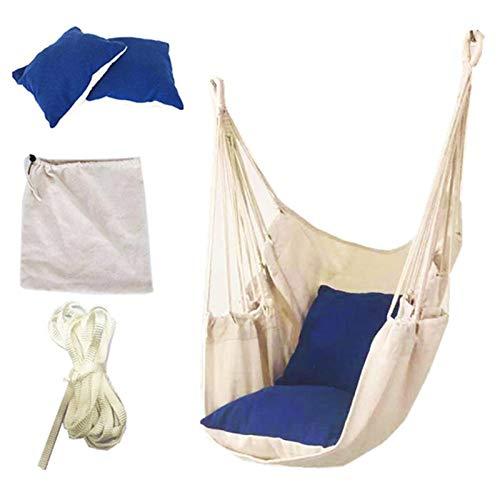 PPLAS 120kg Hängematte Garten Hang Lazy Chair Swinging Indoor Outdoor Möbel Hängende Seilstuhl Swing Chair Sitz Bett Reise Camping (Color : Blue)