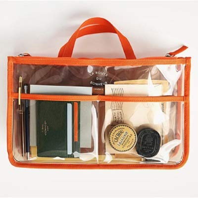 Mode PVC Transparent cosmétique Sac Femmes Organisateur Voyage Sac de Maquillage Clair Sacs de Plage de Grande capacité Poratable Sacs Toilette (Color : Orange)