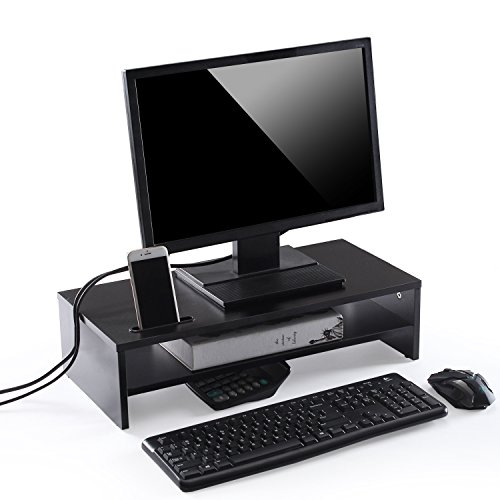 Ttap Black Wooden Monitor Two Shelf Stand Computer Laptop TV Screen Riser Desk Organiser 54cm L x 24.5cm D x 14.4cm H (with Smartphone holder)