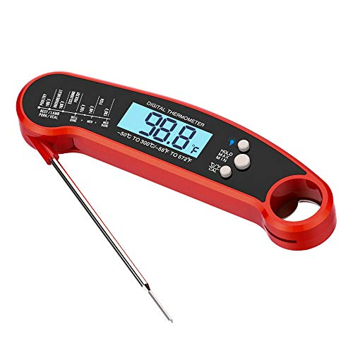 Shanasi Instant Read Meat Thermometer for Cooking BBQ and Grill. Best Waterproof Ultra Fast Read Thermometer with Bright LCD Screen. Built-in Bottle Opener