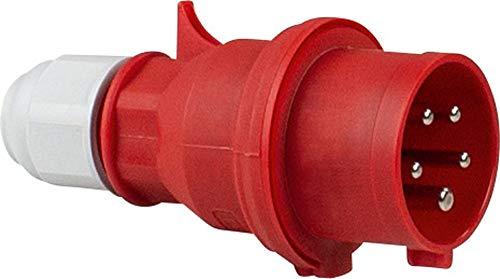 as - Schwabe as 61420 Bals CEE-Stecker 400V/16A, rot, mit Schraubanschluss, 400 V
