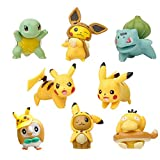 NOCKSY Mini Pikachu Figurines Miniature Animal Statue Fairy Garden Accessories Bonsai Craft for Garden Decoration, Pikachu 8 Pcs 1.96' (H)