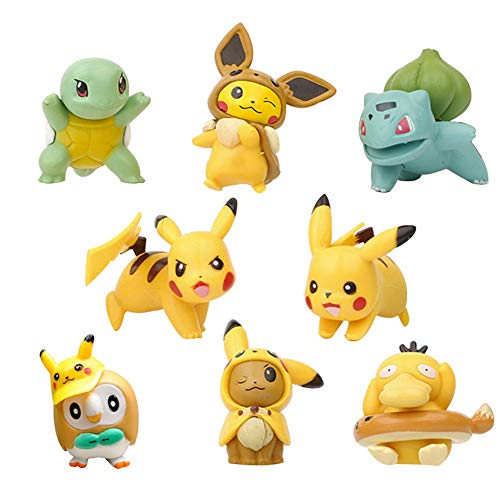 NOCKSY Mini Pikachu Figurines Miniature Animal Statue Fairy Garden Accessories Bonsai Craft for Garden Decoration (Pocket Monster 9Pieces)