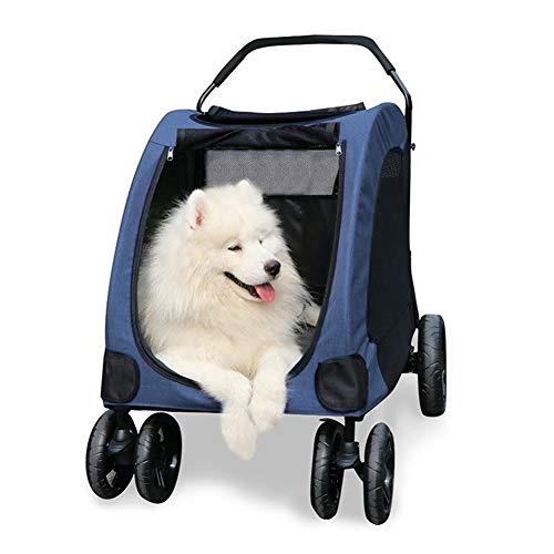 MFFACAI Carrello per Cani, Auto di Lusso per Cani di Grossa Taglia o Gatti   Passeggino da Viaggio Pieghevole a 4 Ruote da 55 kg (Color : Blue)
