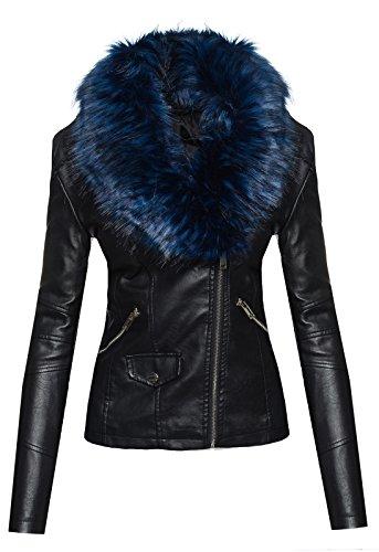 Rock Creek Selection Elegante Damen Kunstleder Jacke Biker Jacke XXL Fellkragen übergangsjacke D-221 [1601 Blau Gr. XL]