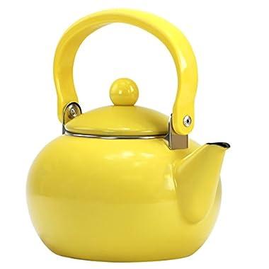 Calypso Basics by Reston Lloyd 2-Quart Enamel-on-Steel Tea Kettle, Lemon Yellow