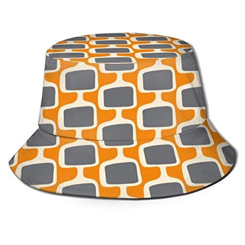 zhouyongz Mid Century Modular Tv Screens Charcoal On Creamsicle Bucket Hat Reversible Fisherman Cap Packable Summer Sun Protection Cap for Women Men