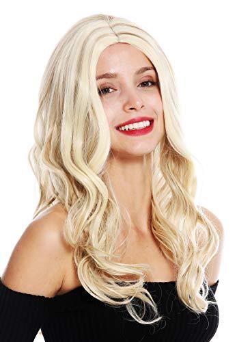 WIG ME UP - GFW3499A-613HM270 Perruque dame longue raie centrale ondulé blond platine mèches