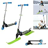 HUZONG 2-in-1 Ski Scooter for Youth, Adjustable Height Sled Skateboard Scooters for Boys and Girls, Folding Ride-On Balance Bikes, 2 Modes Scooter and Sledges Support Snow Sliding, Kids Birthday Gift