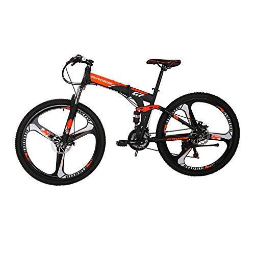 LZBIKE BICYCE G7 27.5inch Mountain Bike Floding Bike 3 spoke wheels shimano 21 Speed Shift Left 3 Right 7 Frame Shock Absorption Mountain Bicycle Orange 27.5inch