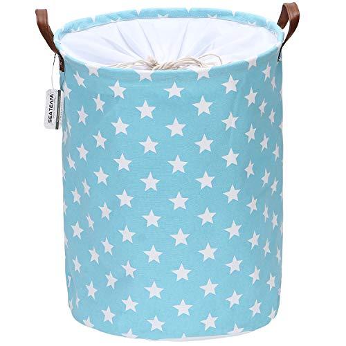 Sea Team - Cesto de lavandería con diseño Estrellas, cesto lavandería de Tela de Lona, contenedor Almacenamiento Plegable con Asas Cuero sintético y Cierre cordón, 50 x 40 cm, Interior Impermeable