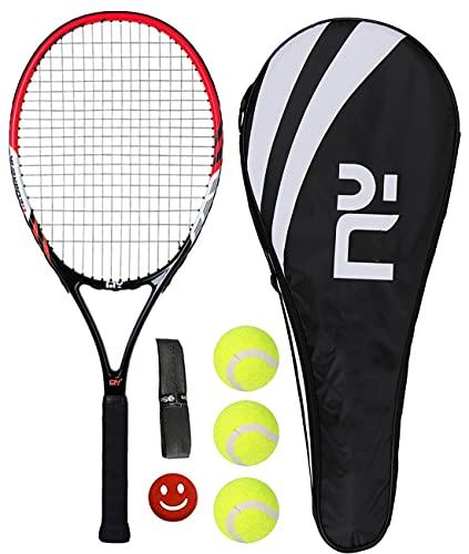 HUIRUMM Raqueta de tenis de 27 pulgadas para adultos, ligera, de carbono, profesional, con bolsa de transporte, incluye 1 banda para el sudor + 1 amortiguador de vibración + 3 pelotas de tenis (rojo)
